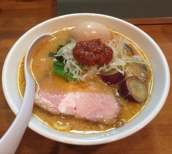 「鶏ベジ味噌らーめん+ネギ・ピリ辛味噌+味玉」@麺処ゆきちの写真