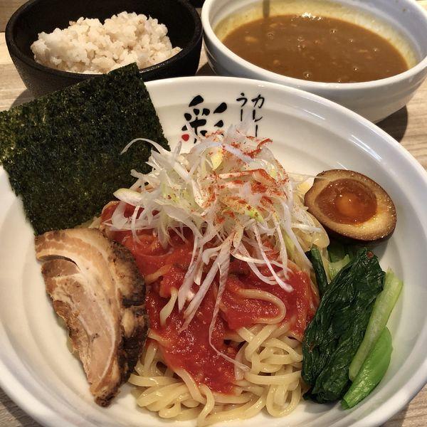 「トマトカレーつけ麺(1辛)+麦ごはん(ランチタイムサービス)」@カレーラーメン 彩 SAIの写真