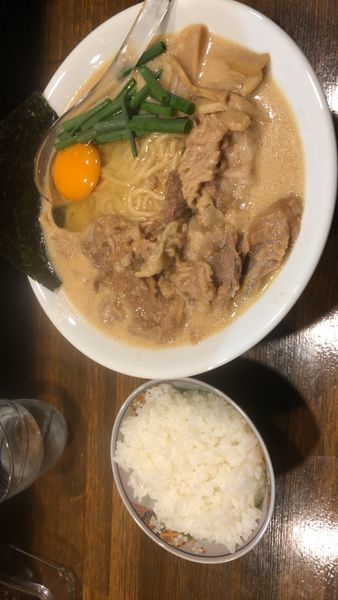 「国産牛すじ味噌らぁ麺 麺200g 生卵サービス ご飯セット7」@Soupmenの写真