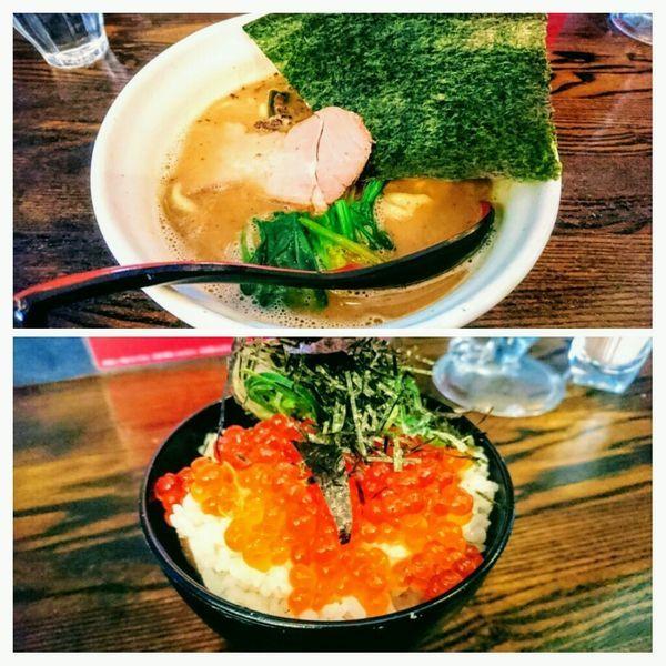 「【限定】イソノ家系+マスのイクラご飯(ポイントカード引き)」@麺場voyageの写真