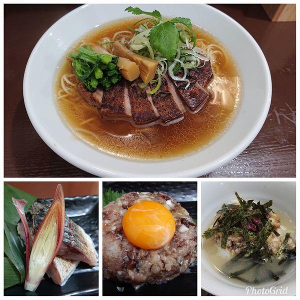 「豚タンチャーシュー麺 小田原産ごま鯖 炙り〆鯖となめろう 梅茶漬」@中華そば うお青の写真