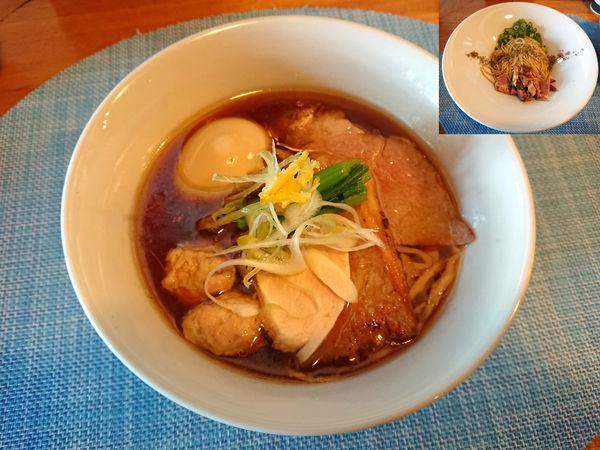 「特製中華そば+煮干し玉」@中華蕎麦 はざまの写真
