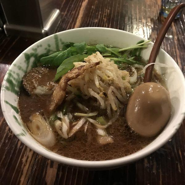 「長谷川自家製味噌ラーメン・牛ハラミ団子添え・味玉」@G麺7の写真