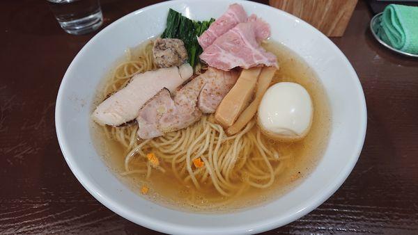 「中華そば塩 上 & 豚メンマご飯」@中華そば うお青の写真