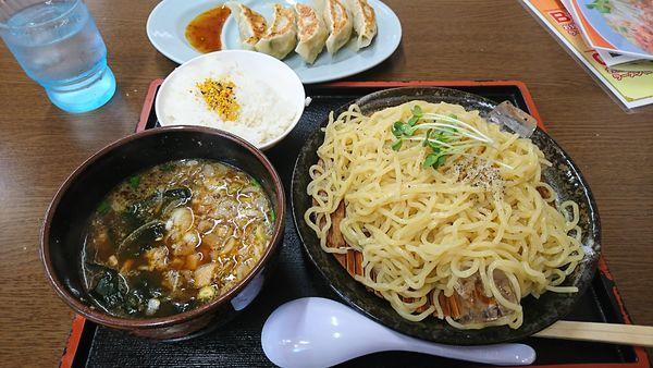 「つけ麺(醤油)+Aランチ」@くるまやラーメン 飯田名古熊店の写真