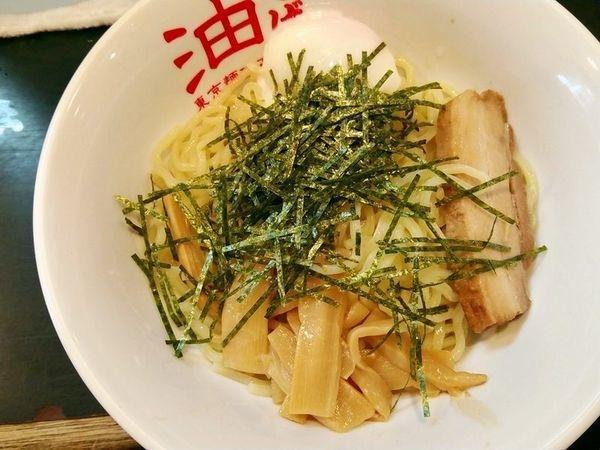 「油そば(大盛)+半熟玉子」@東京麺珍亭本舗 鶴巻町店の写真