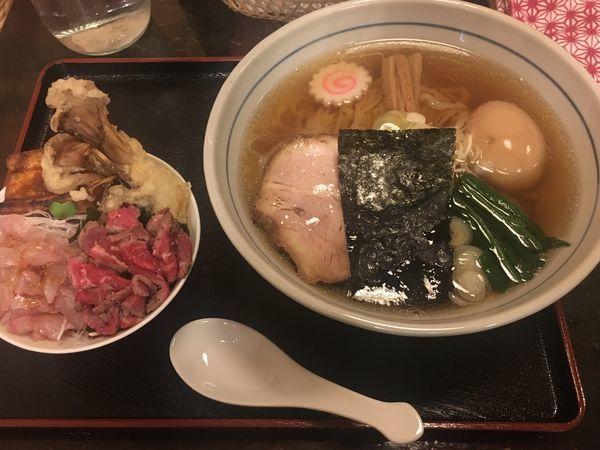 「中華そば(780円) + づけ卵 季節のご飯」@味処 むさし野の写真