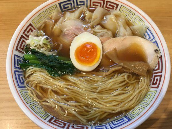「ワンタン中華そば(大盛)+タルタルご飯」@ほっこり中華そば もつけの写真