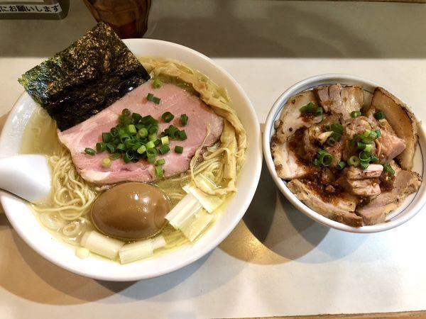 「【限定】鶏と水の塩らーめん+日替わりごはんセット」@麺屋 扇 SENの写真