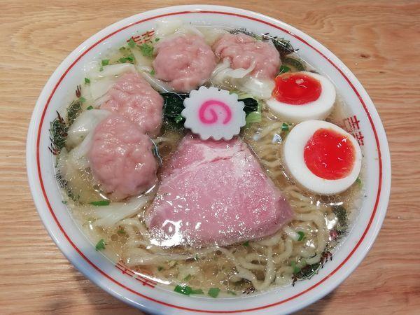 「山椒そば中盛り+肉ワンタン4ヶ+味玉」@キング製麺の写真