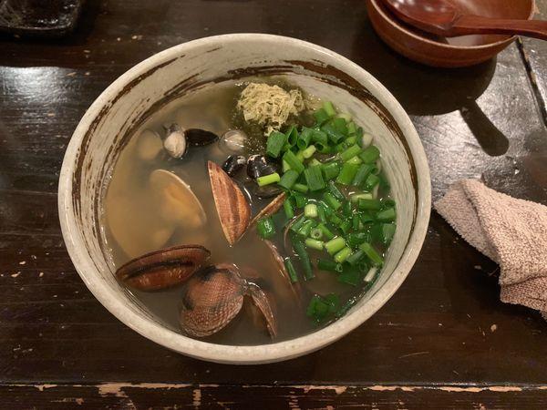 「貝汁そば 960円」@ボンゴレ亭の写真