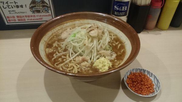 「ラーメン大600g・柔らかめ・ショウガ(アブラ辛揚げ別皿)」@鷹の目 蒲田店の写真