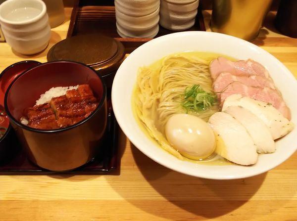 「塩そば&ひつまぶしセット+特製トッピング」@自家製麺 竜葵の写真