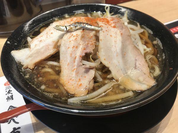 「煮干しラーメン 麺小 トッピング普通」@中野屋らーめん THE JIRO 阪急茨木市駅前店の写真