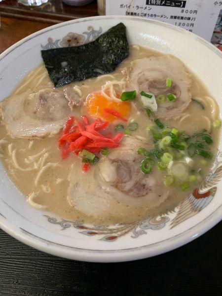 「卵入りラーメン750円」@九州ラーメ ン葉隠の写真