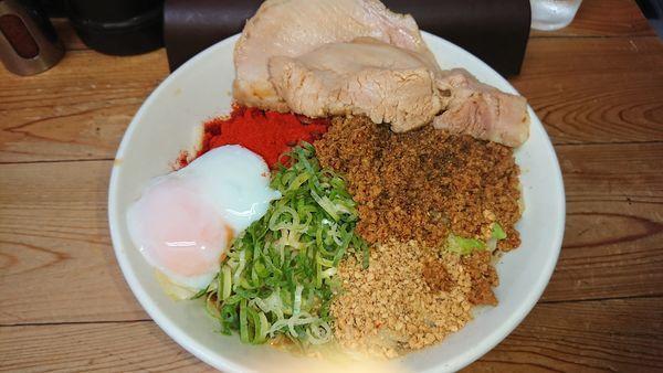 「特製汁なし担々麺大盛(1100円)+辛しび(50円」@自家製麺 てんかの写真