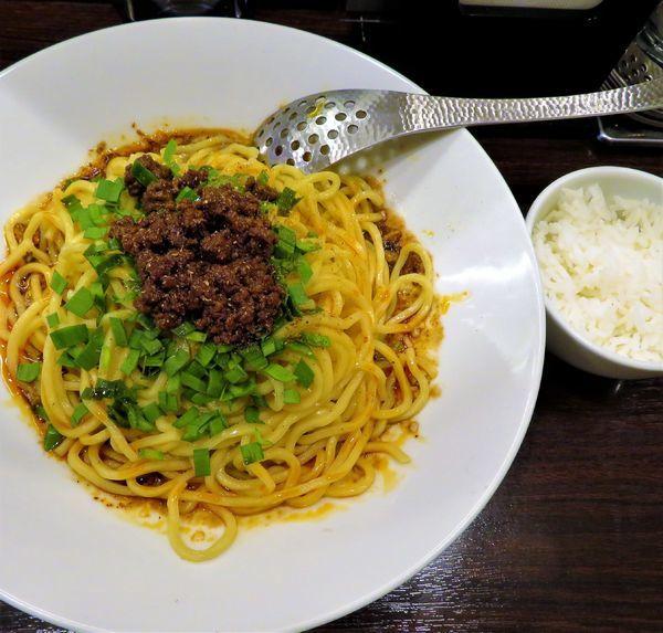 「汁なし担々麺(830円)+ミニジャスミンライス」@香噴噴 東京木場の写真