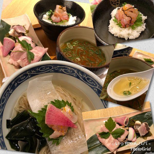 「限定20食)至福の真鯛つけそば 鯛飯付き 1,000円」@むぎくらべの写真