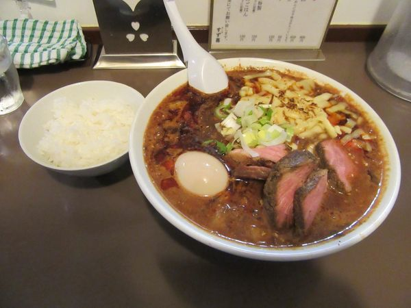「限定 トマト担々麺(900円)+チーズ+特製TP」@鶏こく中華 すず喜の写真