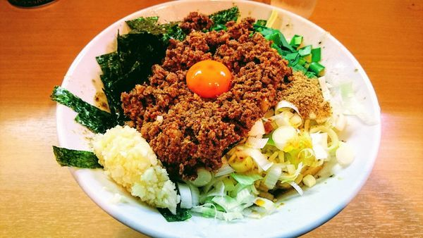 「【限定】我流豚星。台湾混蕎麦(麺半分・大蒜・追い飯)+チーズ」@豚星。の写真