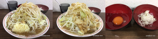 「ミニラーメン、タマネギ、生卵」@ラーメン武丸の写真
