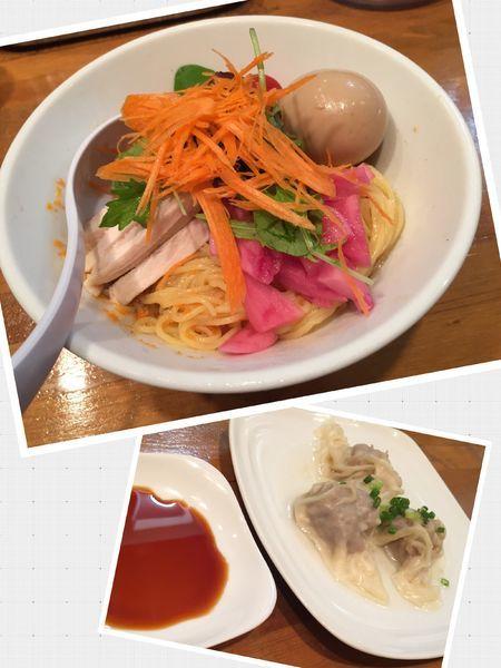 「【限定】ベジ冷やしまぜ麺+味玉+皿ワンタン3個」@麺処ゆきちの写真
