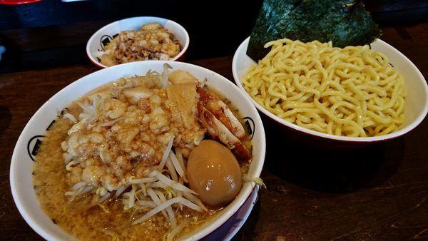 「つけ麺+麺増し+麺増し+アブライス」@らーめん男盛の写真