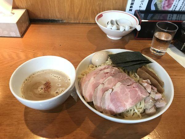 「純系名古屋コーチンと魚介のつけそば」@麺家 喜多楽の写真