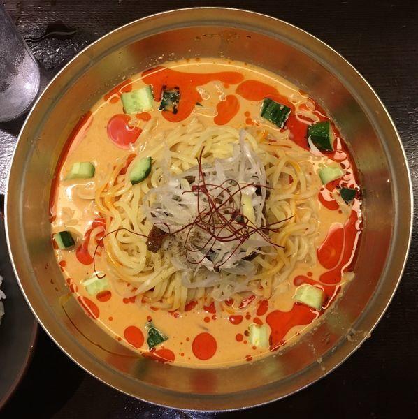 「冷やし担々麺+ラービスライス」@光麺 恵比寿店の写真