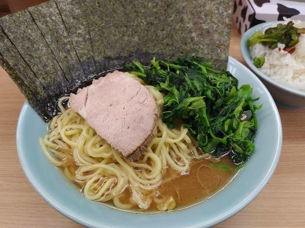 「のり増しラーメン大ほうれん草増し」@横浜ラーメン 武蔵家 明大前店の写真