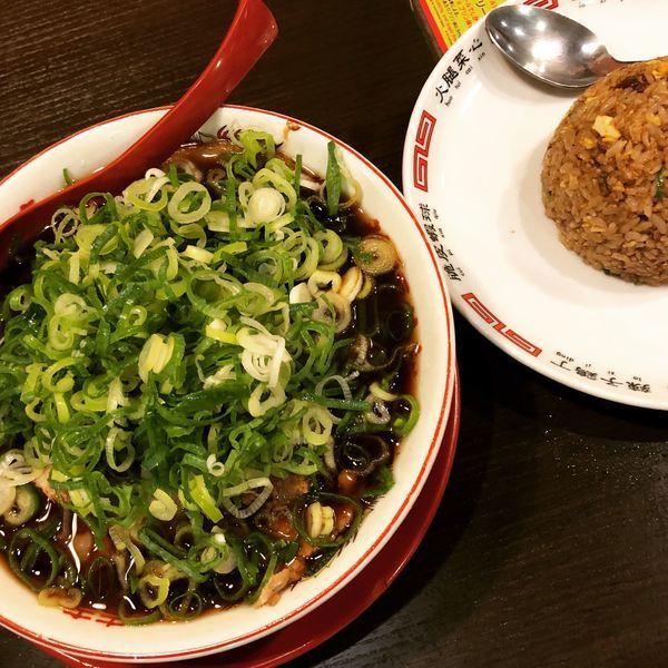 「中華そば(並)+ねぎ、焼き飯(小)」@新福菜館 秋葉原店の写真