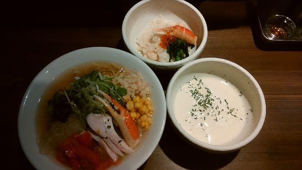 「蟹出汁冷やし和えそば サイドライス付き 1500円」@つけ麺 一燈の写真