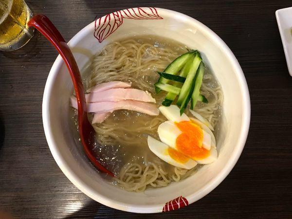 「冷やしぷるぷる鶏そば 温煮干スープ付き・・・その他諸々」@麺処 あす花の写真