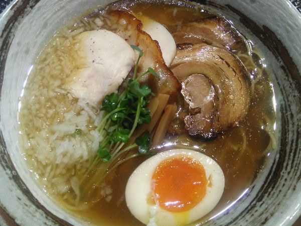 「石窯あご出汁麺+和牛牛タン(塩タレ)+よだれとり」@西山屋の写真