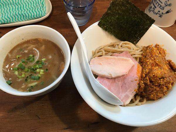 「つけ麺+【限定】アチャーリチキンキーマ」@Trigo(トリーゴ)の写真