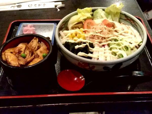 「サラダうどんセット(サラダうどん+ミニ鳥めし)950円」@登利平 高崎モントレー店の写真