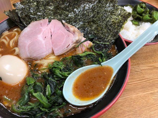 「【辛味噌】のりほうれん草ラーメン」@麺家 紫極の写真
