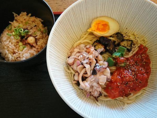 「【限定】真ダコと夏野菜の冷し麺 タコ飯付き ¥920」@和風らーめん 凪の写真
