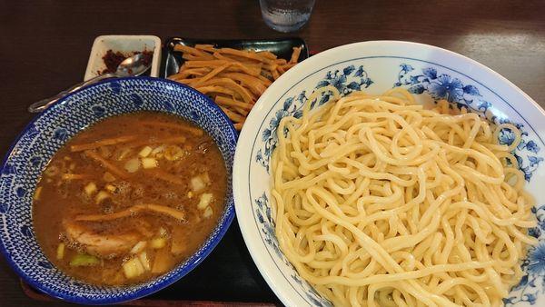 「[限定]濃厚辛子豚骨魚介つけ麺(850円)メンマ(130円)」@郡山大勝軒の写真