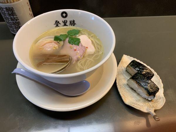 「はまぐり塩らーめん+焼き鯖寿司」@らぁめん登里勝の写真