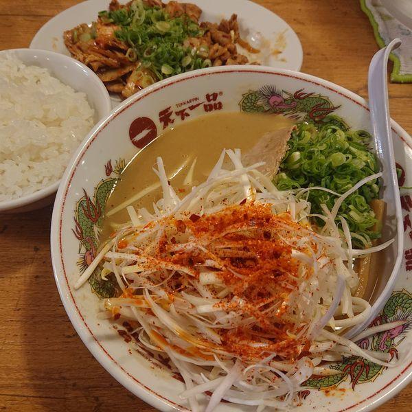 「辛ねぎラーメン&豚キムチ定食1260円他」@天下一品 大船店の写真