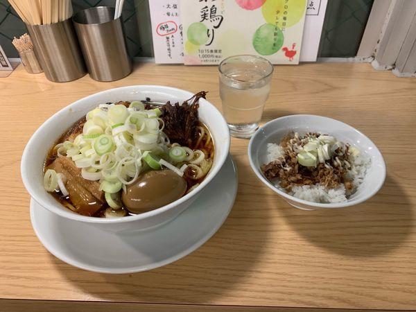 「ラーメン原点 ネギ・卵トッピング 豚丼」@人類みな麺類の写真