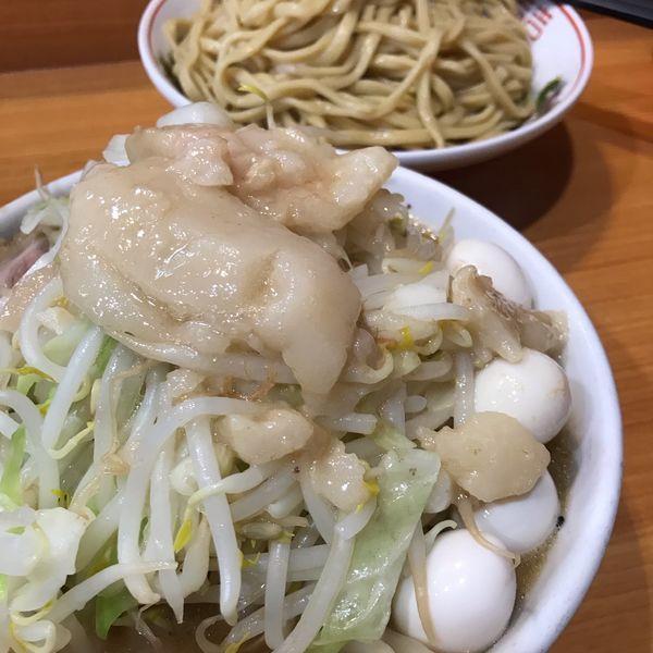 「シークァーサーつけ麺950円+うずら100円」@ラーメン二郎 八王子野猿街道店2の写真