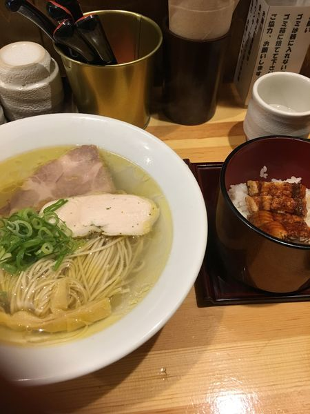「ランチセット 塩そば+ひつまぶし」@自家製麺 竜葵の写真