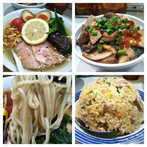 「【限定】瀬戸内海産真鯛のアラと伊吹いりこの冷やし+炒飯+豚丼」@麺屋 扇 SENの写真