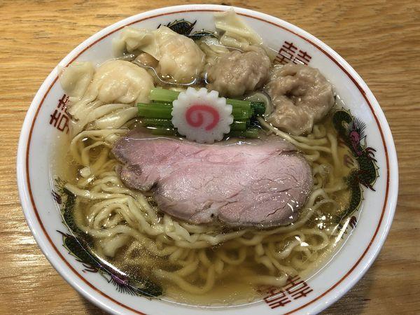 「ワンタン麺(白だし)肉2個海老2個 中盛」@キング製麺の写真
