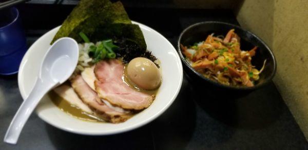 「特製濃厚そば1070円+チャーシュー丼250円」@麺処 晴の写真