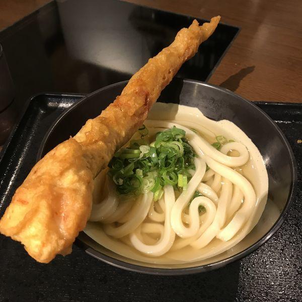 「かけ(ひや)(¥400)+ゲソ天(¥100)」@松井製麺所の写真