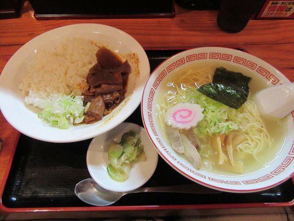 「Aセット(煮込みライスと塩中華そば)930円」@煮込み食堂 まるしばの写真