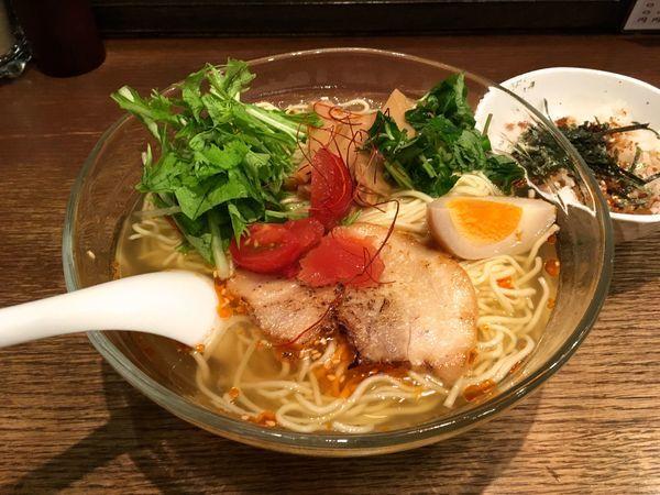「酸辣涼麺 大盛り+ミニさけ節ごはん(サービス)」@いちばんやの写真